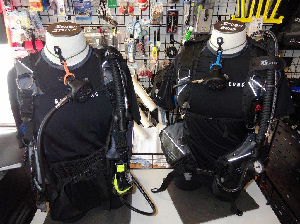 dummies wearing dive gear