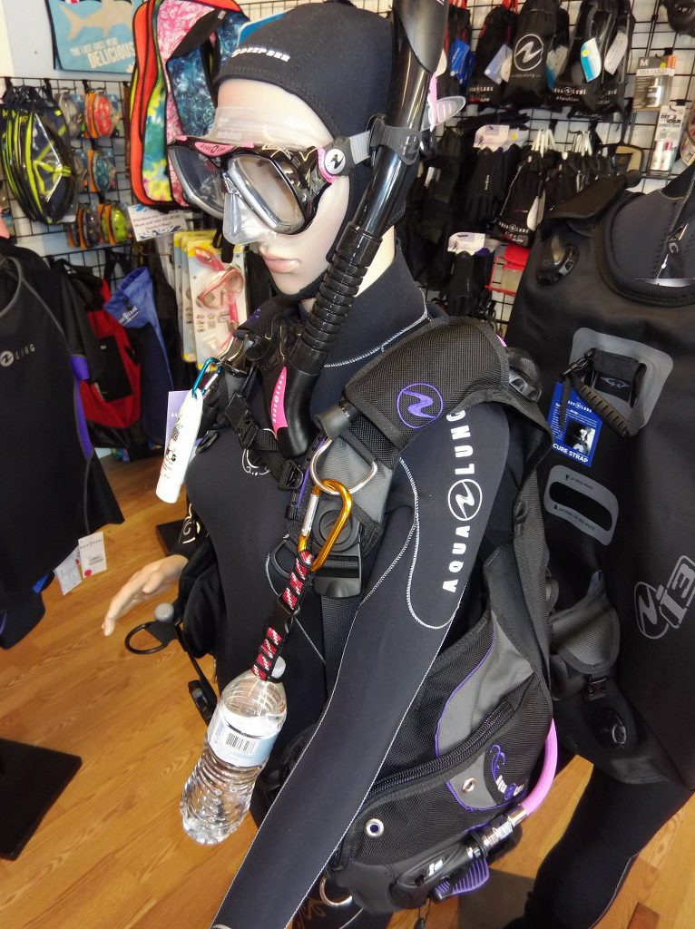 Mannequin wearing dive gear